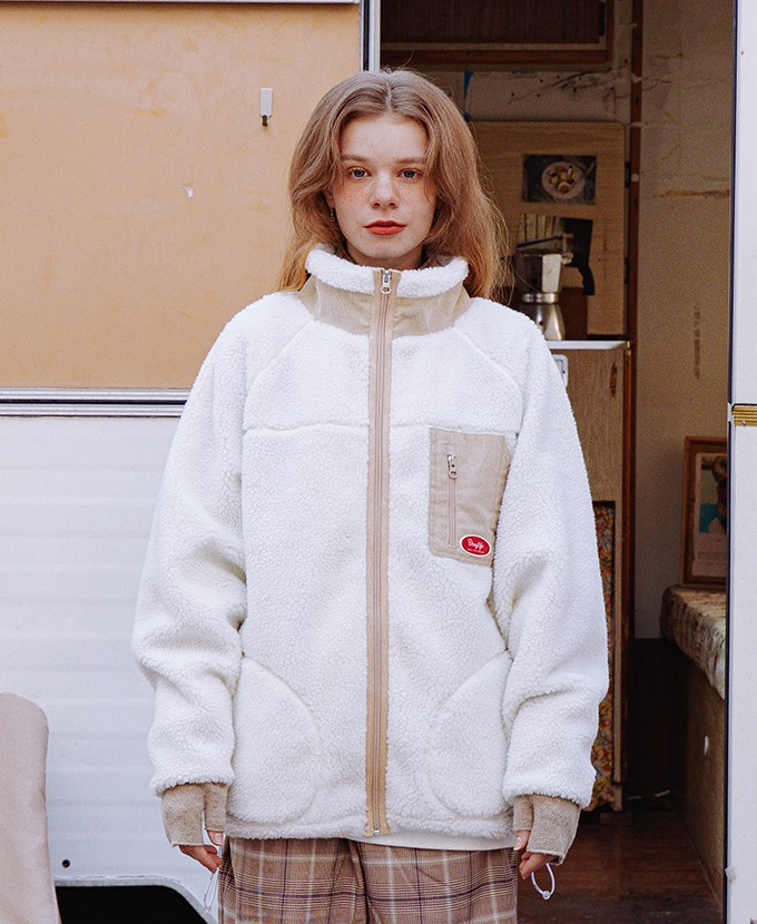 DAYLIFE FLEECE CORDUROY JACKET (IVORY)