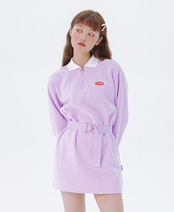 DAYLIFE COLLAR BELT ONE-PIECE (PURPLE)