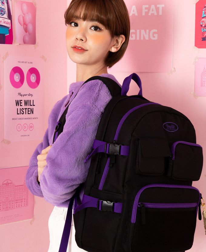 DAYLIFE MULTI POCKET BACKPACK(BLACK/VIOLET)feat. EXOシウミン着用カバン