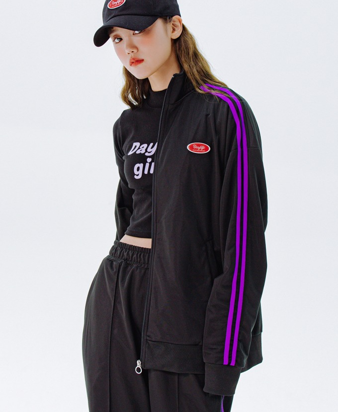 DAYLIFE LINE TRACK JACKET (BLACK)